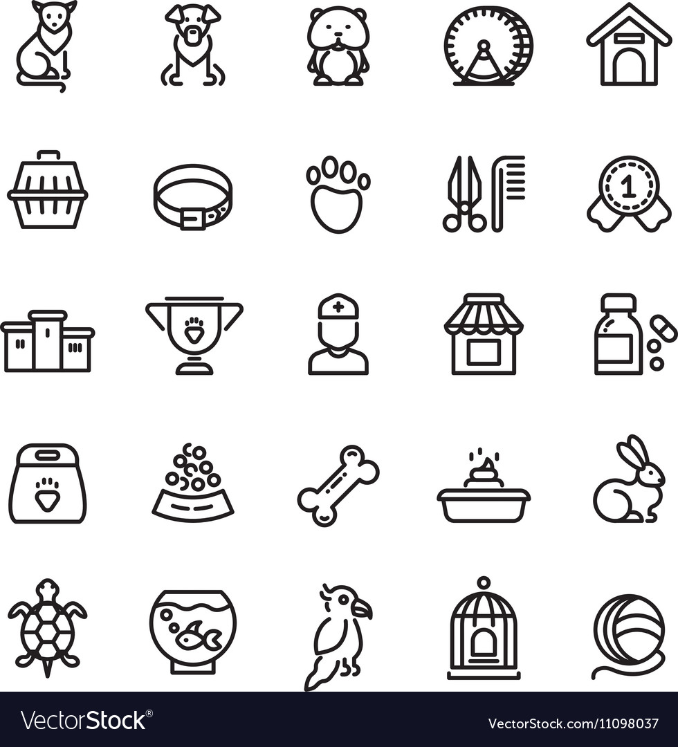Pet shop animals thin line icons outline