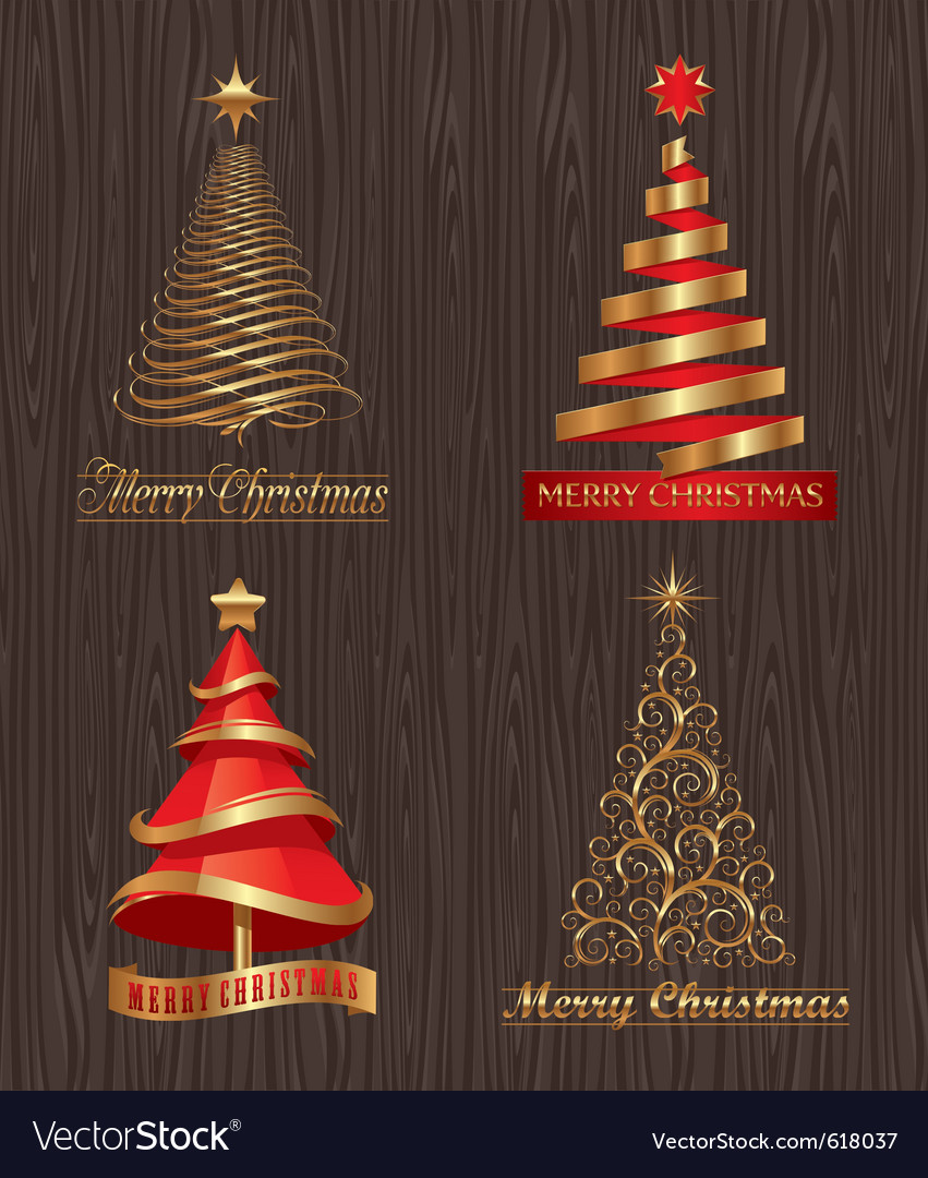 Set - golden decorative christmas trees