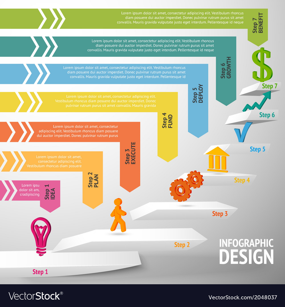staircase infographic template royalty free vector image