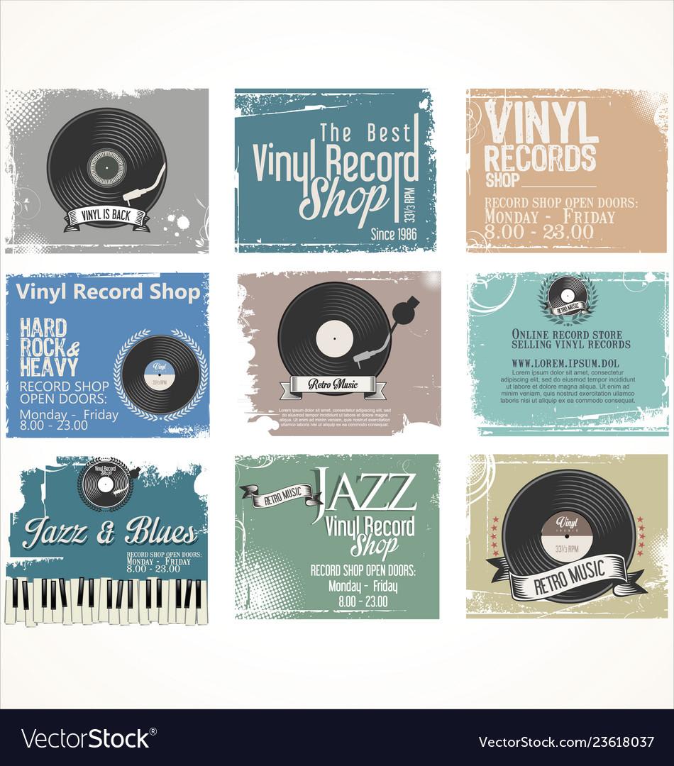 Vinyl record shop retro grunge banner collection