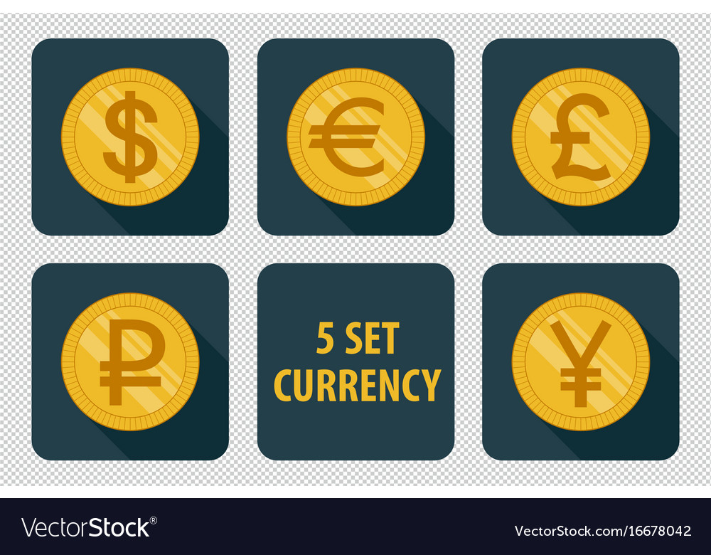 Currency set of icons on dark background