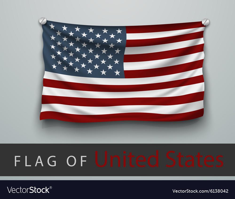 Flag of usa battered hung on wall