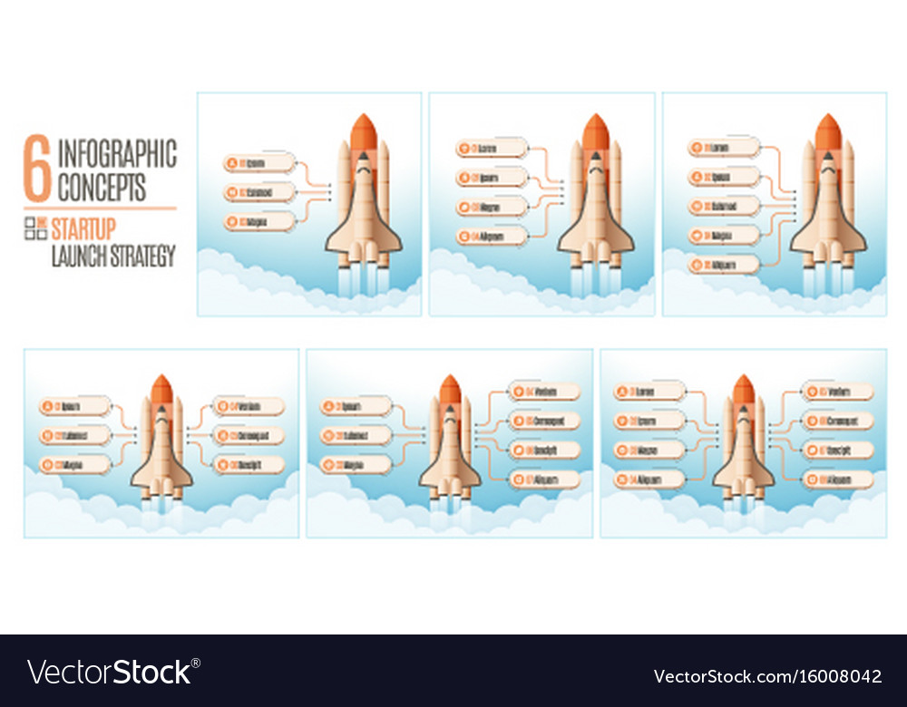 Infographics template set with structure elements vector image