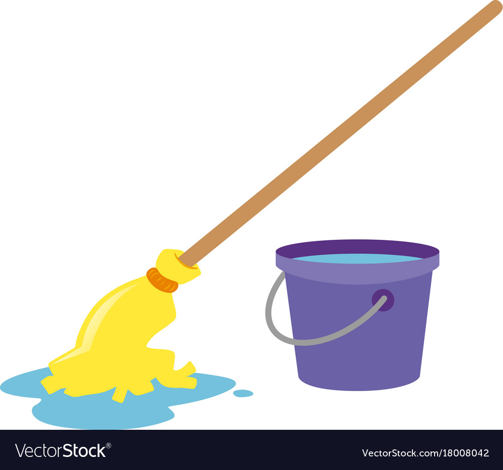 Mop And Water Bucket Royalty Free Vector Image