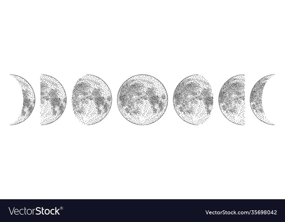 Phases moon monochrome hand drawn