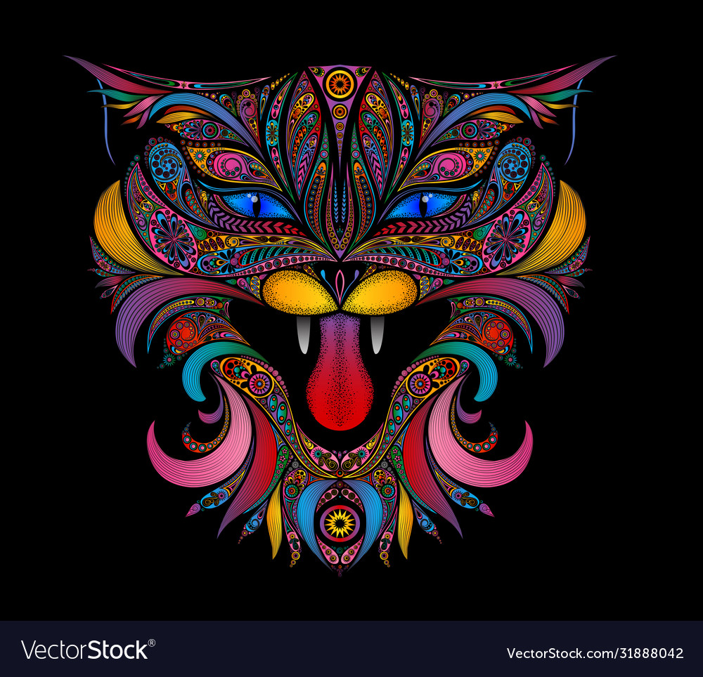 Screaming color cat