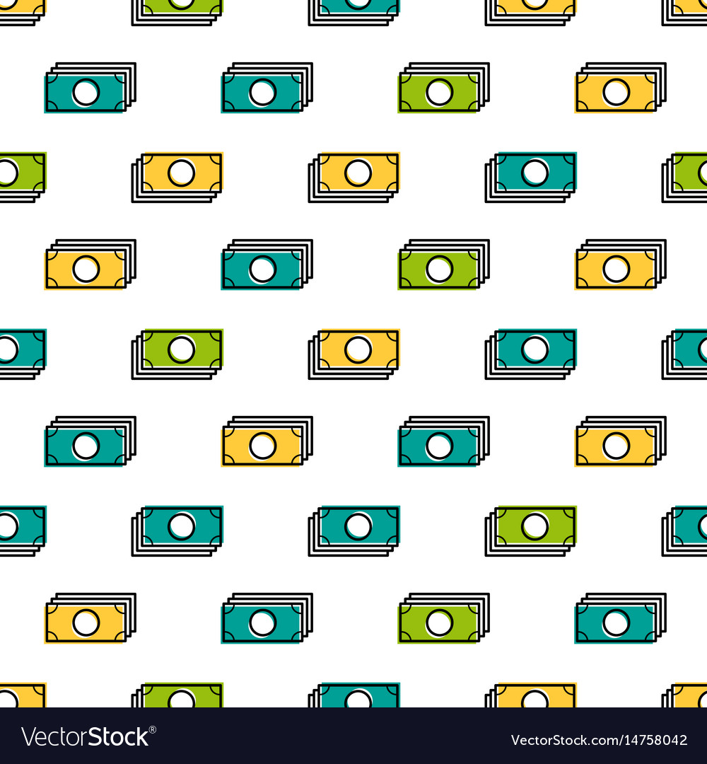 Seamless pattern with colored banknotes vector image