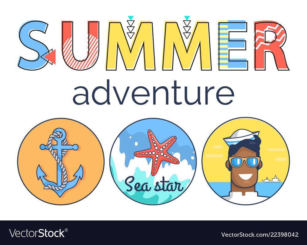 Summer adventure promo banner with marine elements