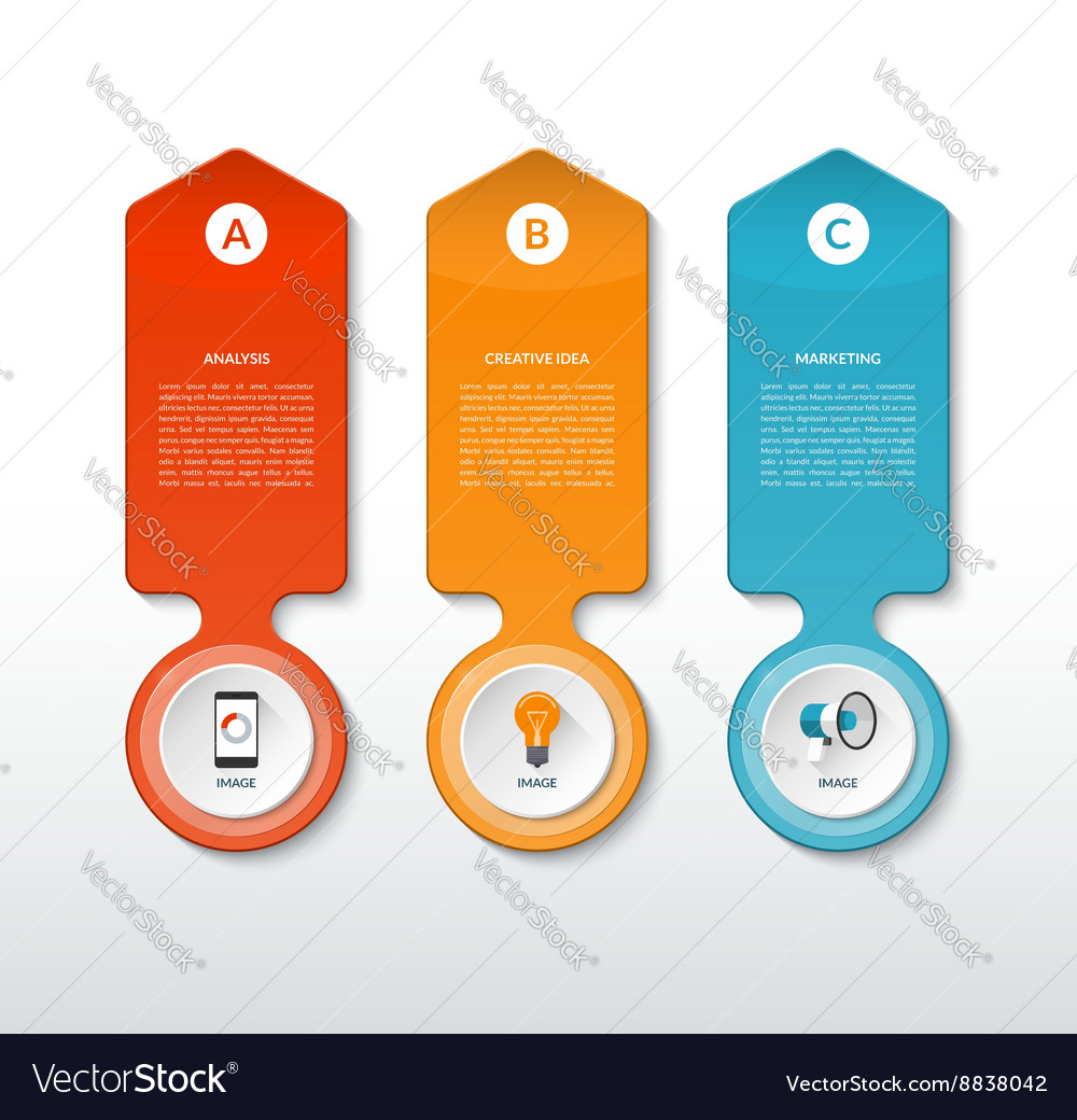 Template for infographics with 3 options