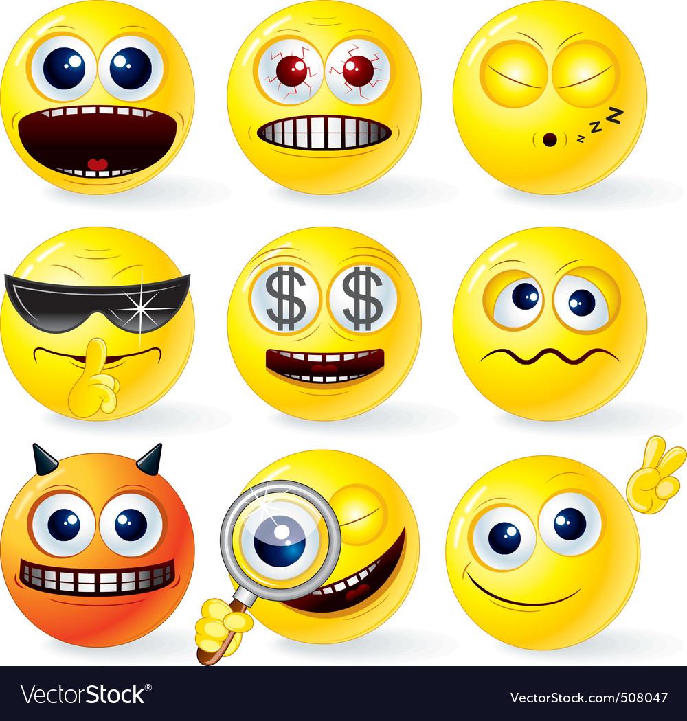Cartoon smilies emoticons set