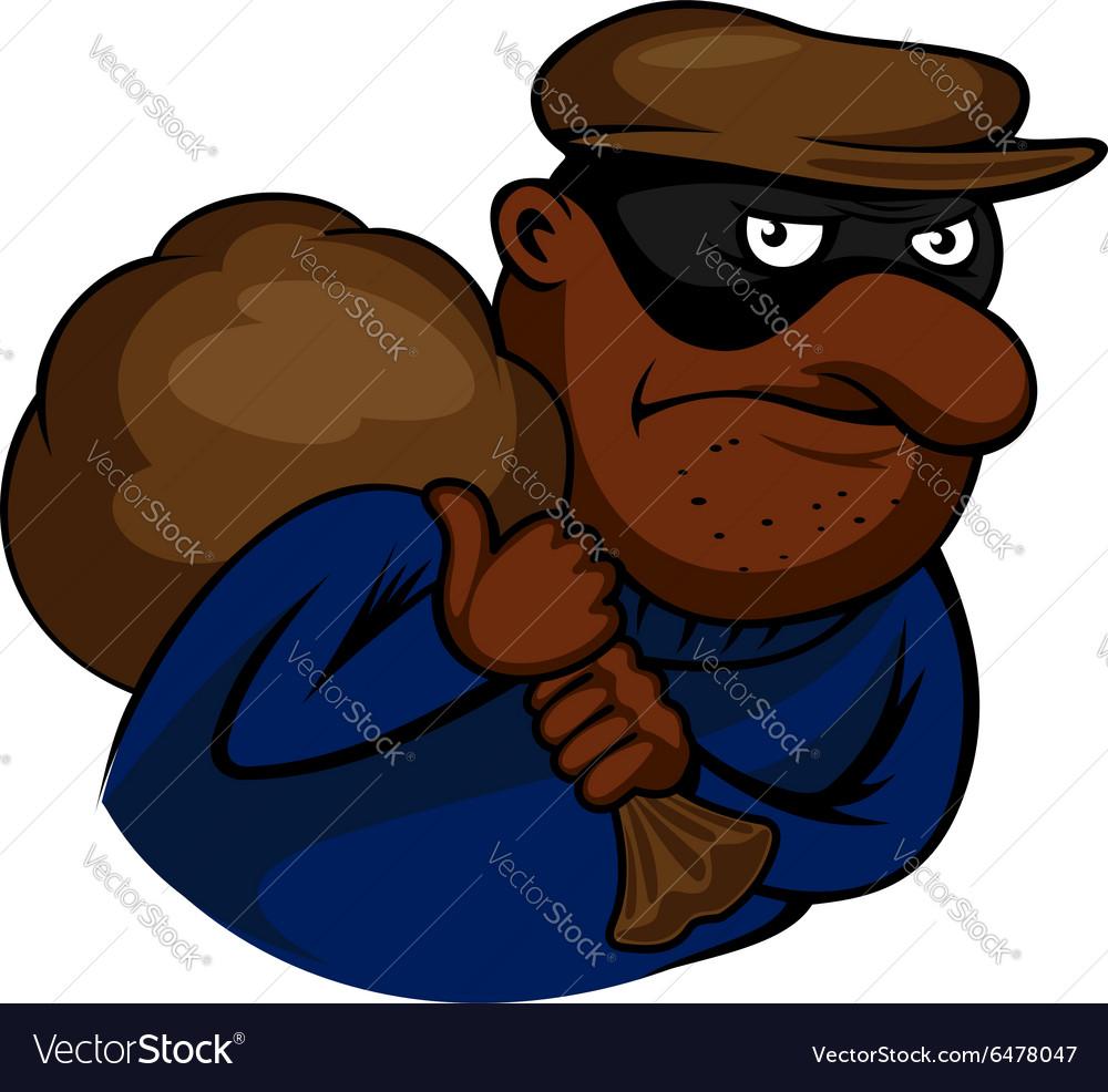 Cartoon thief or burglar character with bag