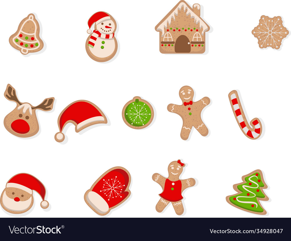 Gingerbread cookies set isolated