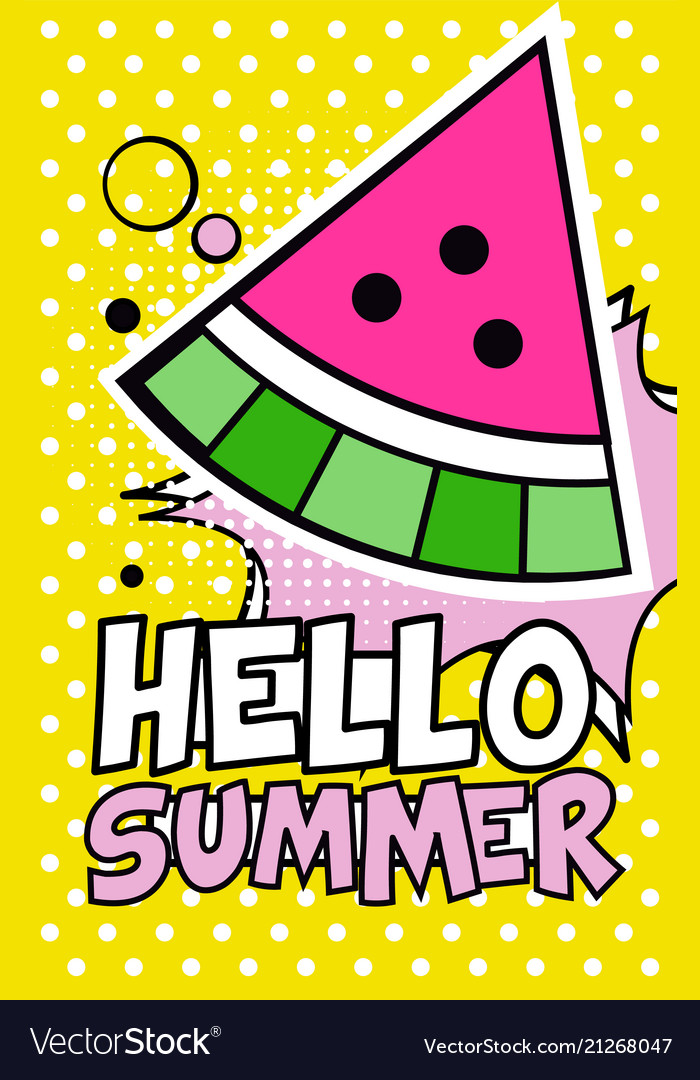 Hello summer banner bright retro pop art style