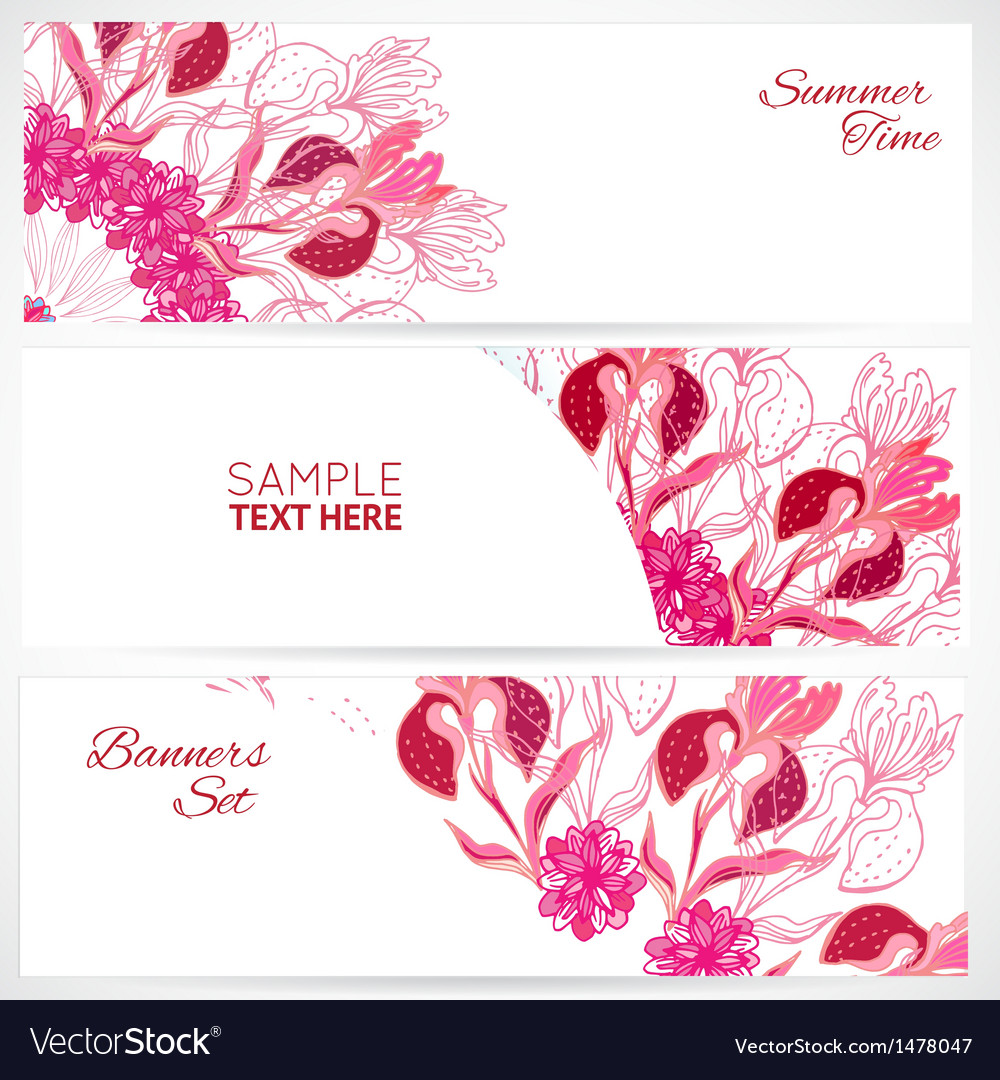 Red floral ornament banners set