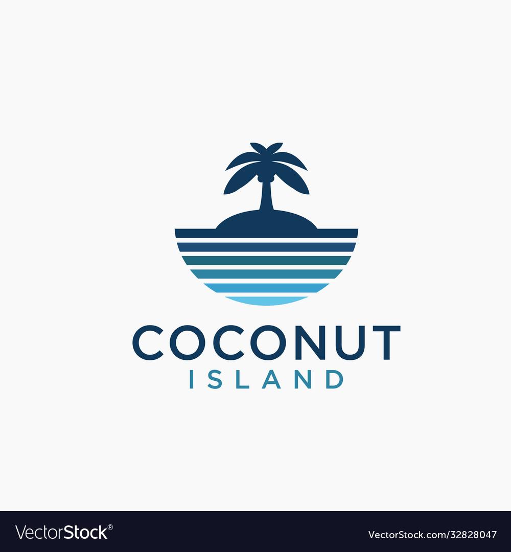 Sea and coconut island logo icon template