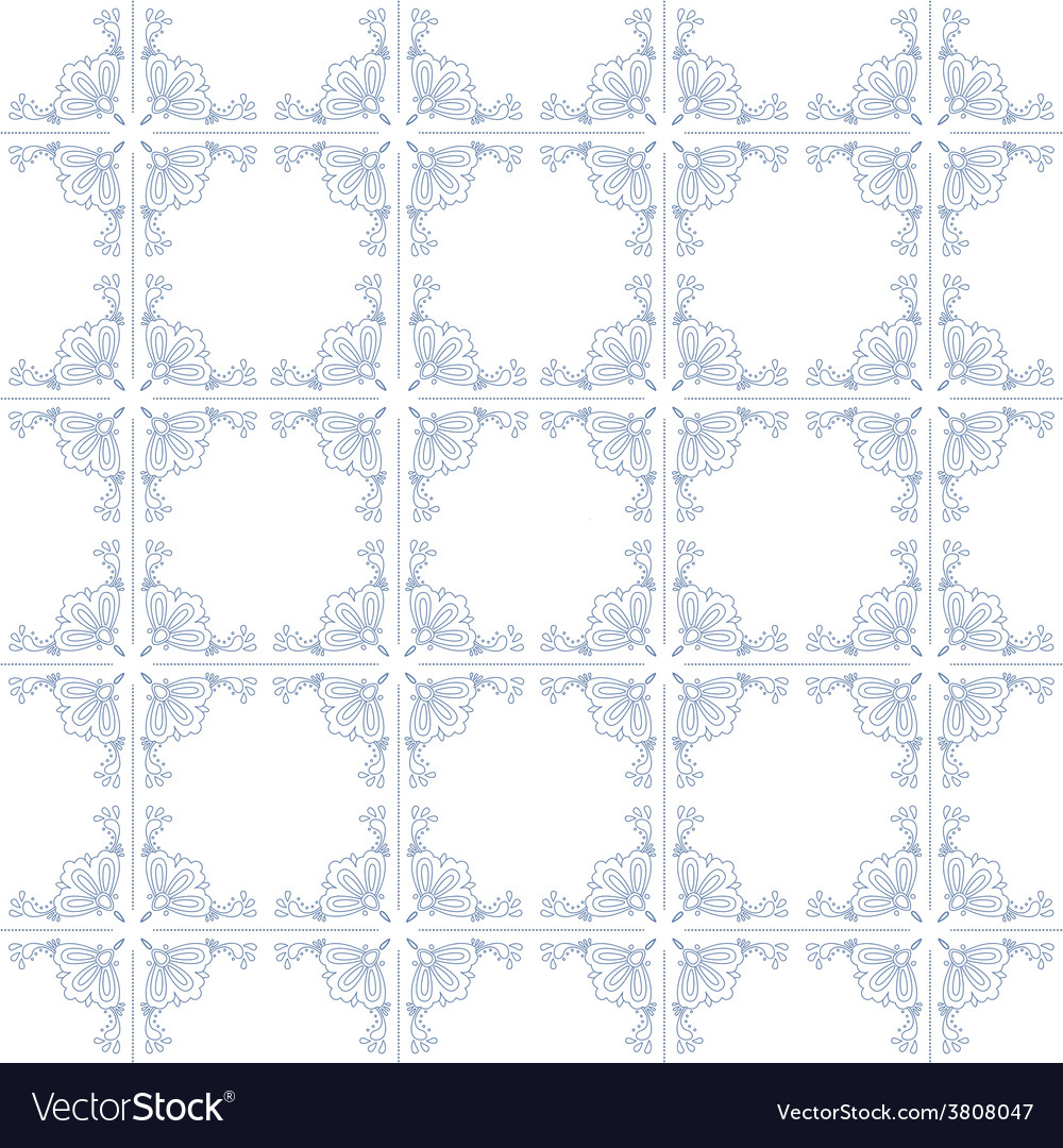 Seamless pattern with dutch ornaments deflt blue