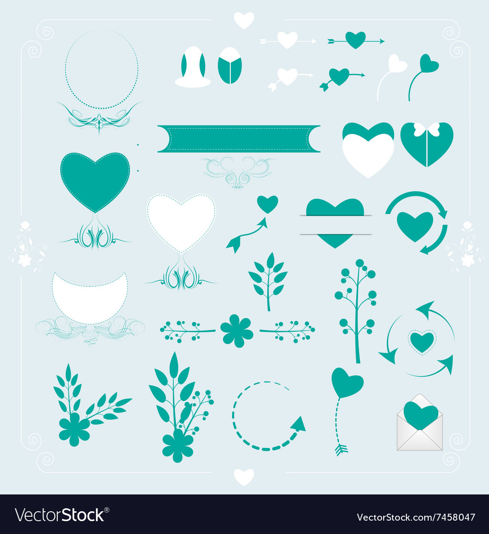 Set of wedding ornaments and decorative elements