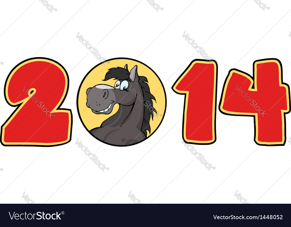 2014 Year Red Cartoon Numbers