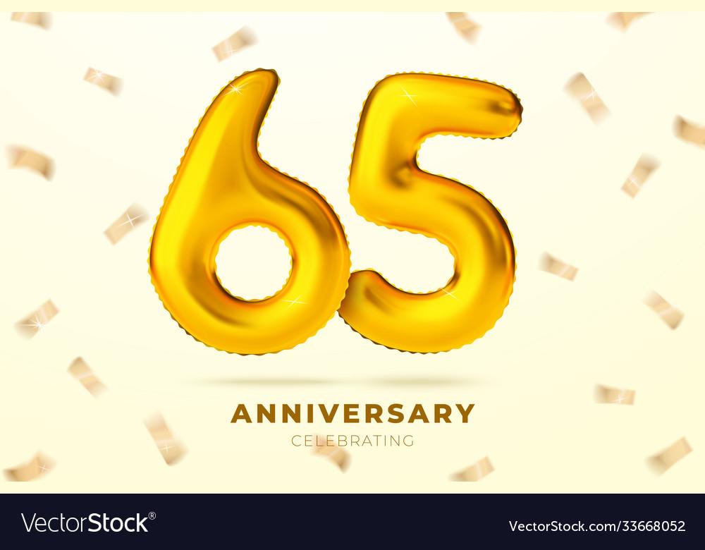 Anniversary golden balloons number 65