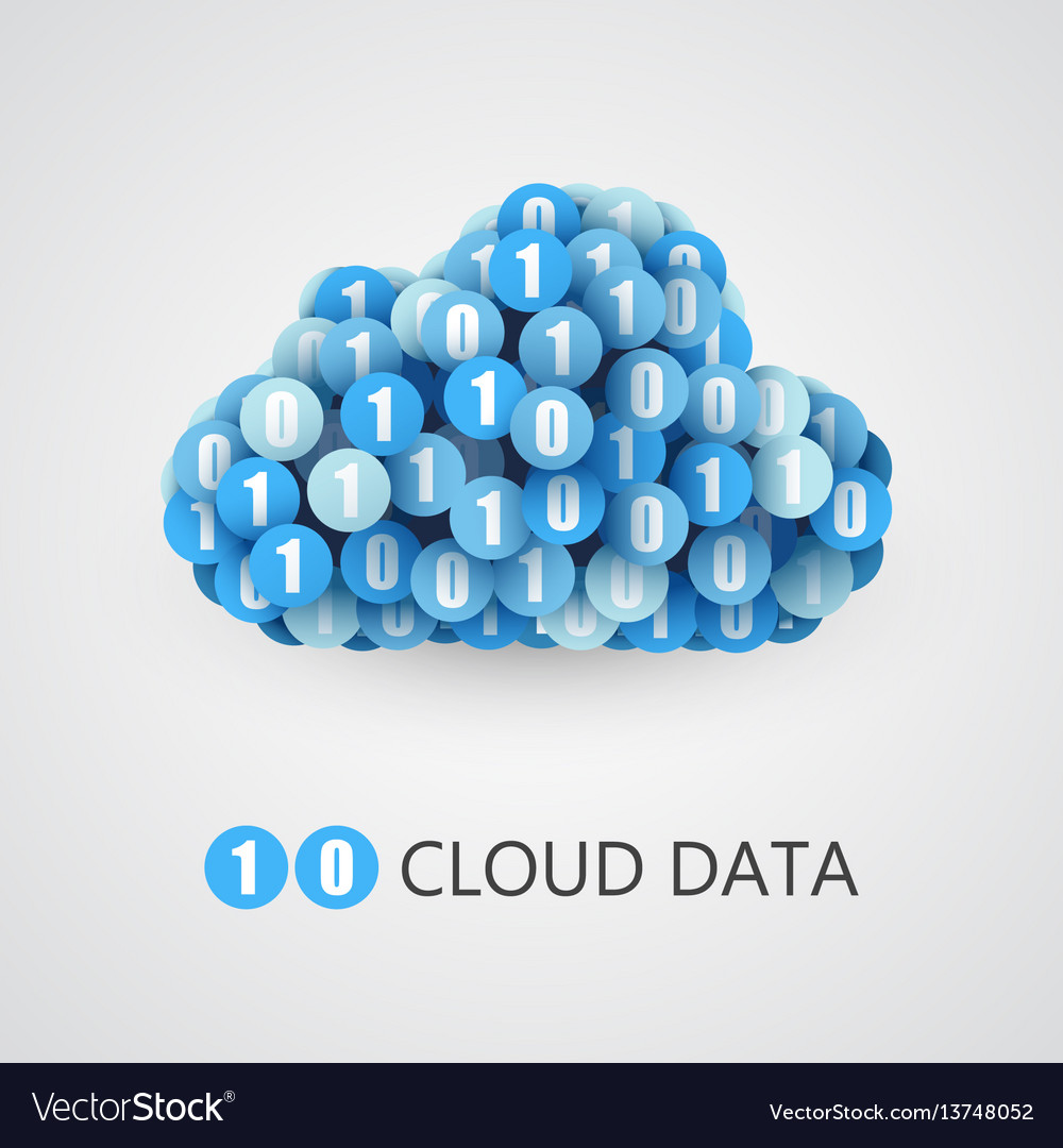 Binary big data cloud concept vector image