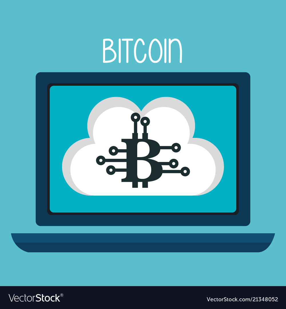 Bitcoin business with laptop computer