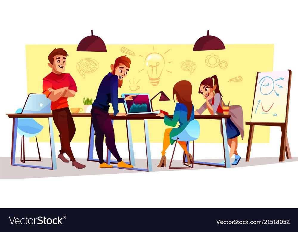 Cartoon freelancers designers at coworking