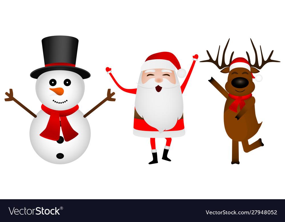 Cartoon funny santa claus reindeer and snowman