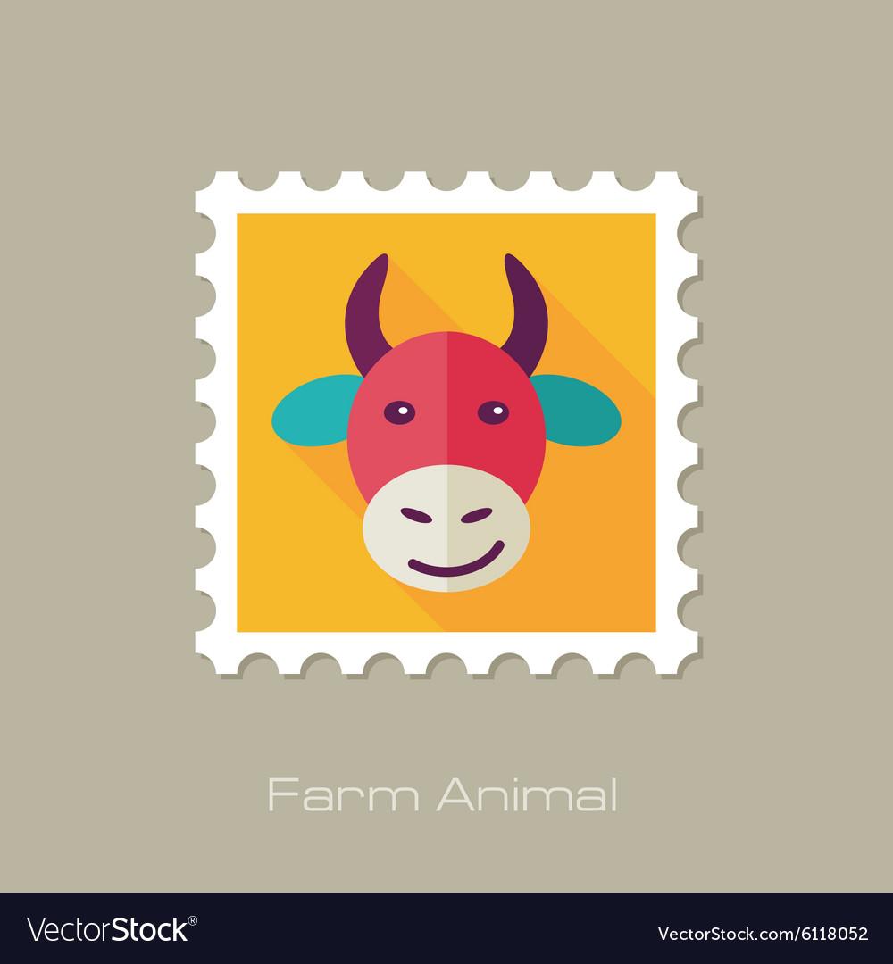 Cow flat stamp Animal head