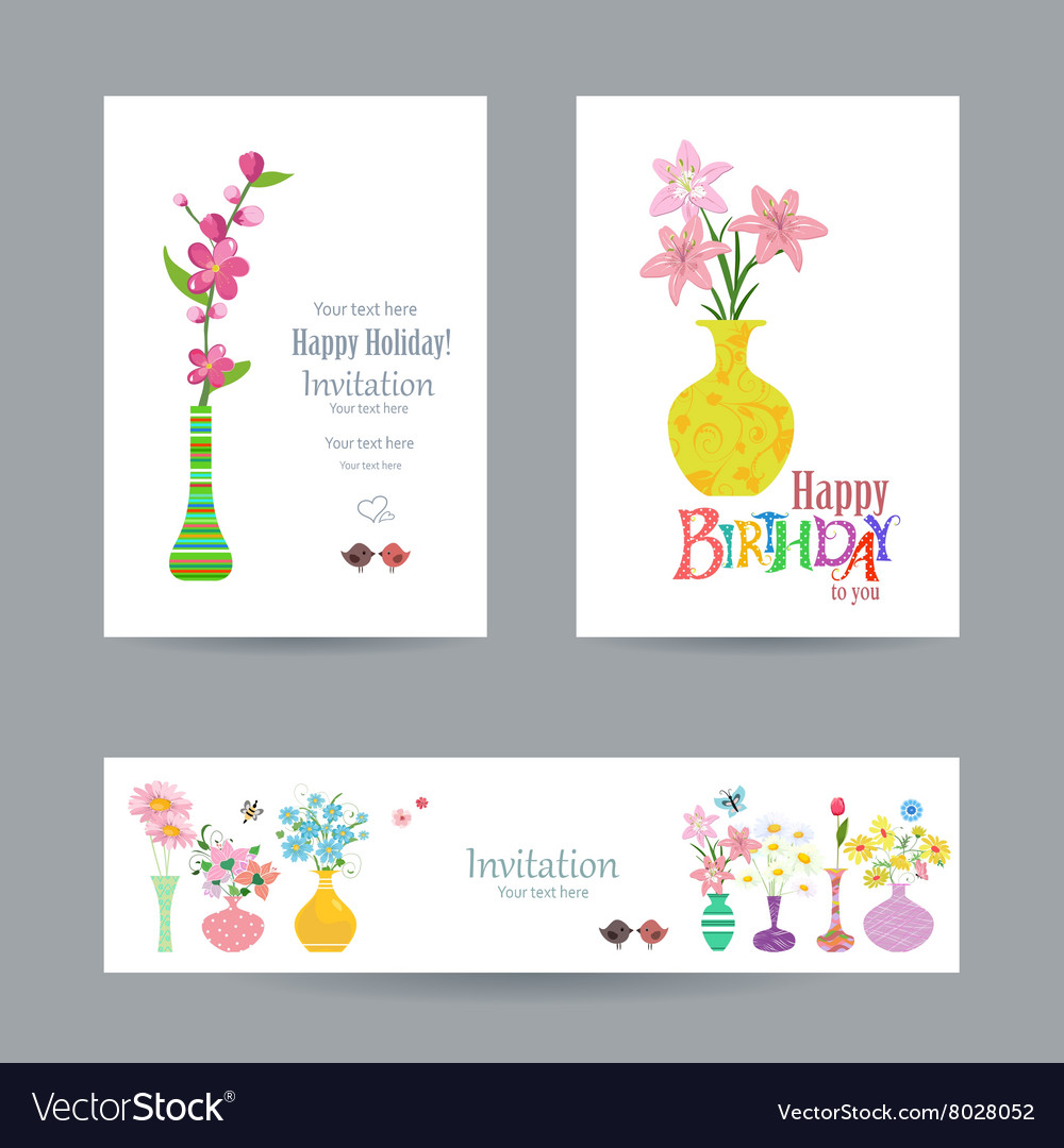 Cute collection invitation cards with flowers in vector image