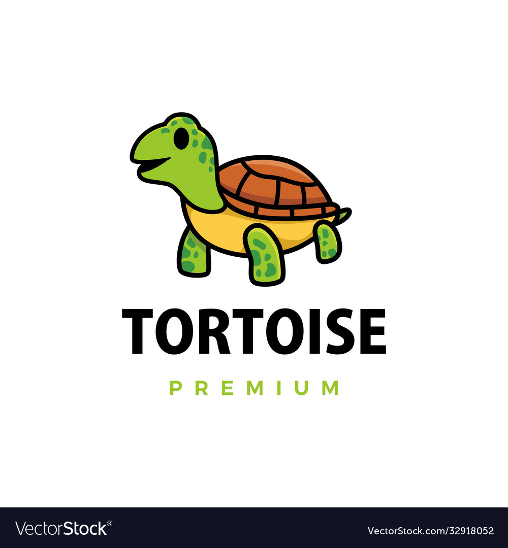 Cute tortoise cartoon logo icon