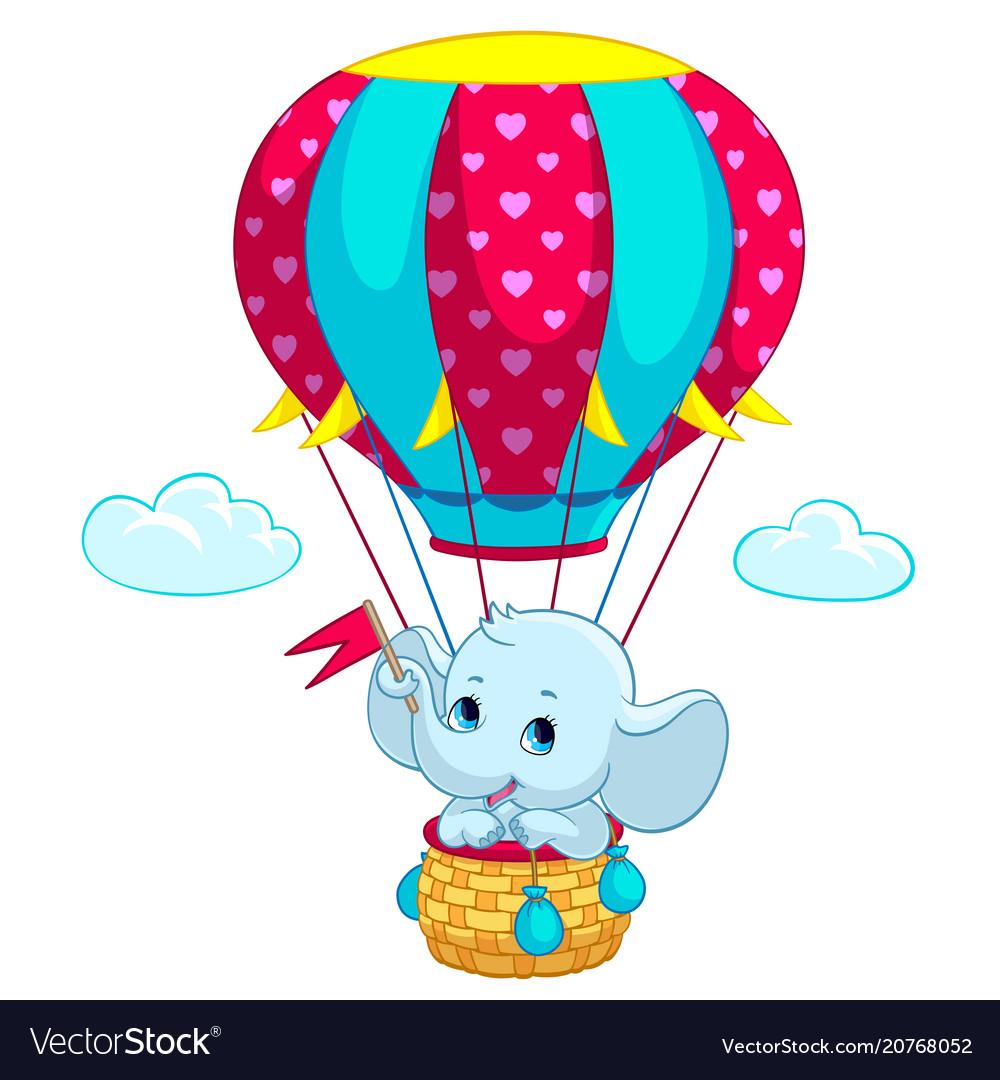 Elephant baon hot air balloon cartoon