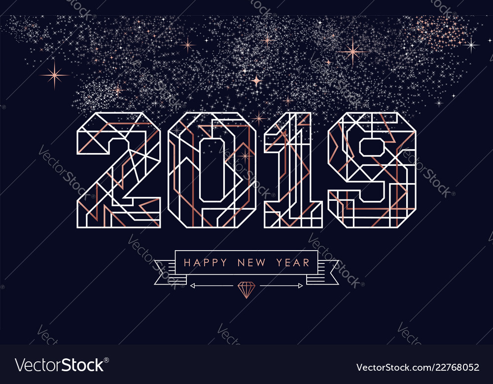 happy new year 2019 copper art deco greeting card vector image