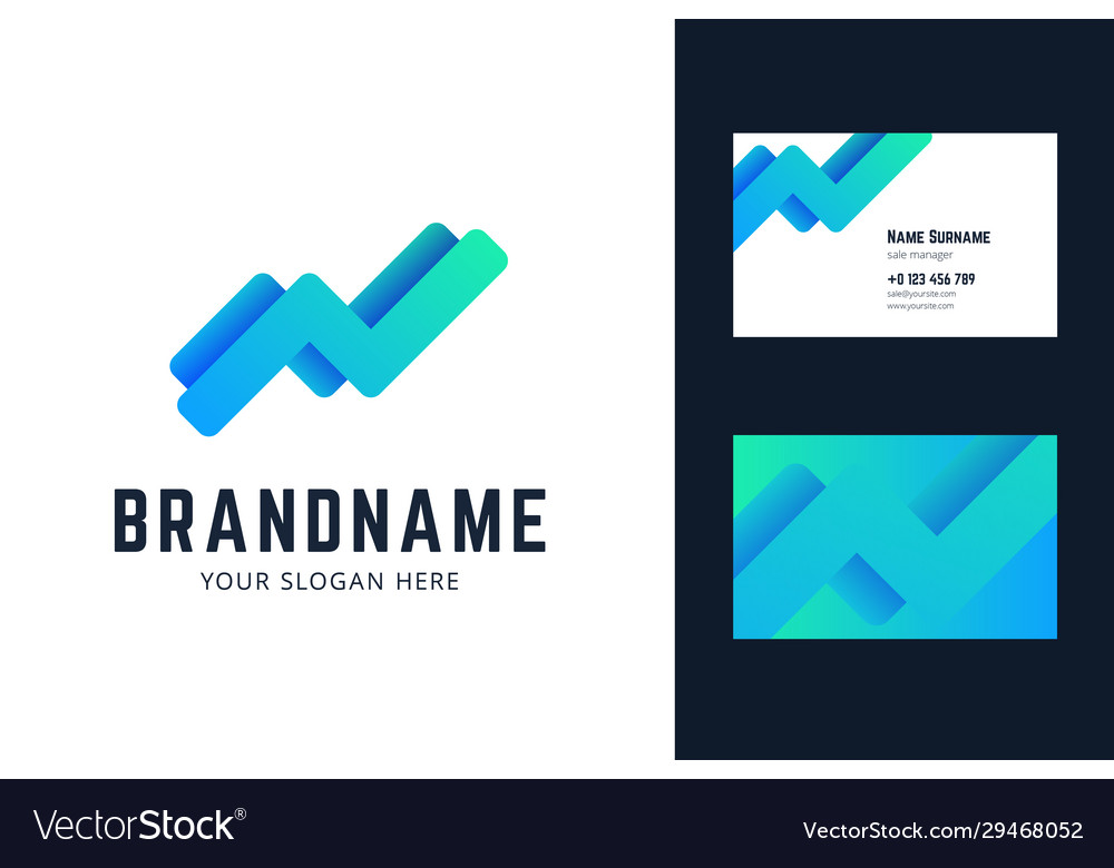 Logo and business card template with growing trend