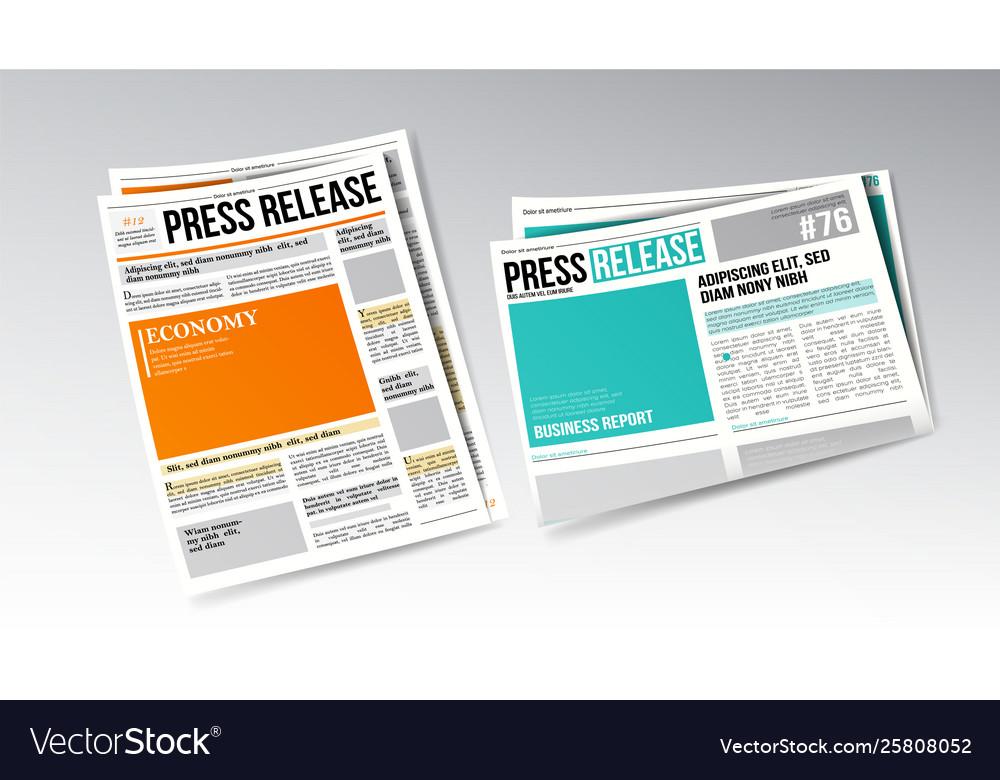 Newspaper press release with headline set
