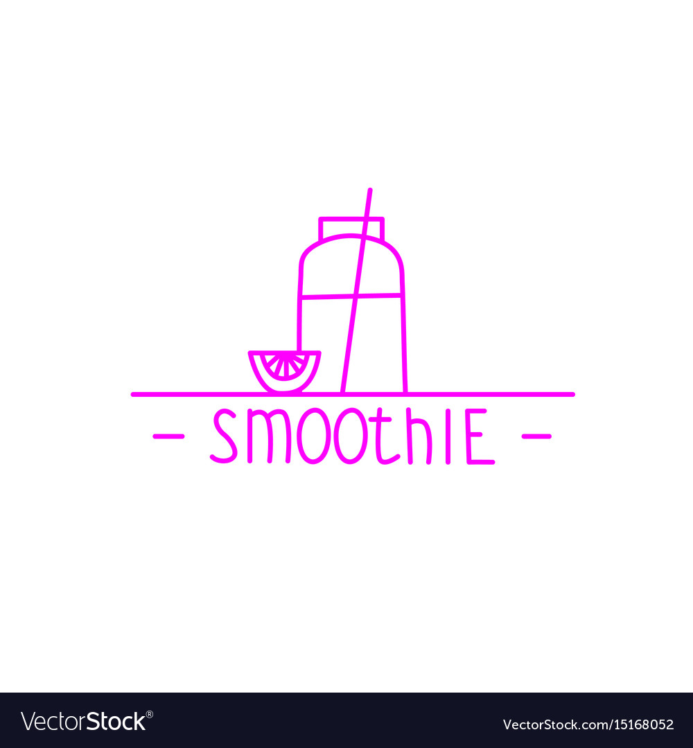 Pink smoothie - hand drawn brush text badge