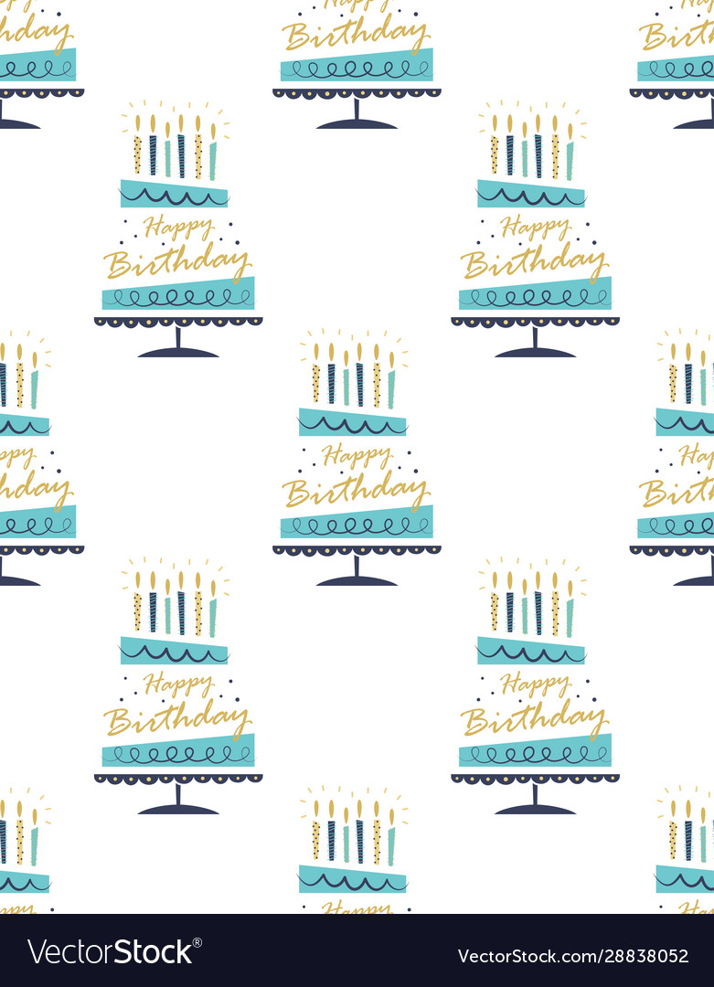 Seamless pattern with hand drawn cake happy