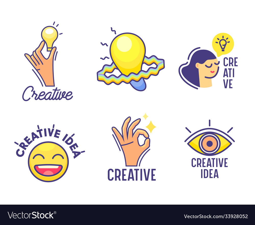 Set cartoon icons creative idea theme hand