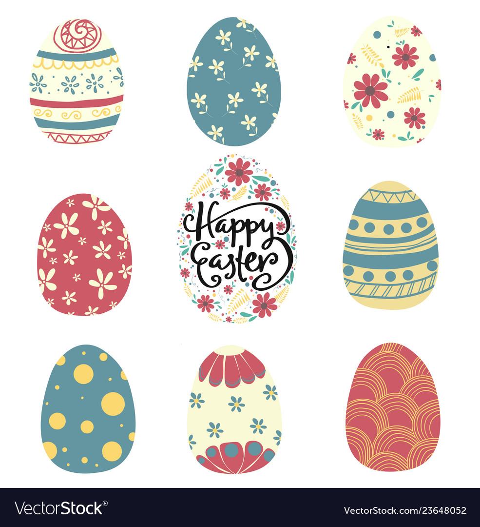Set of colorful pattern easter egg flat