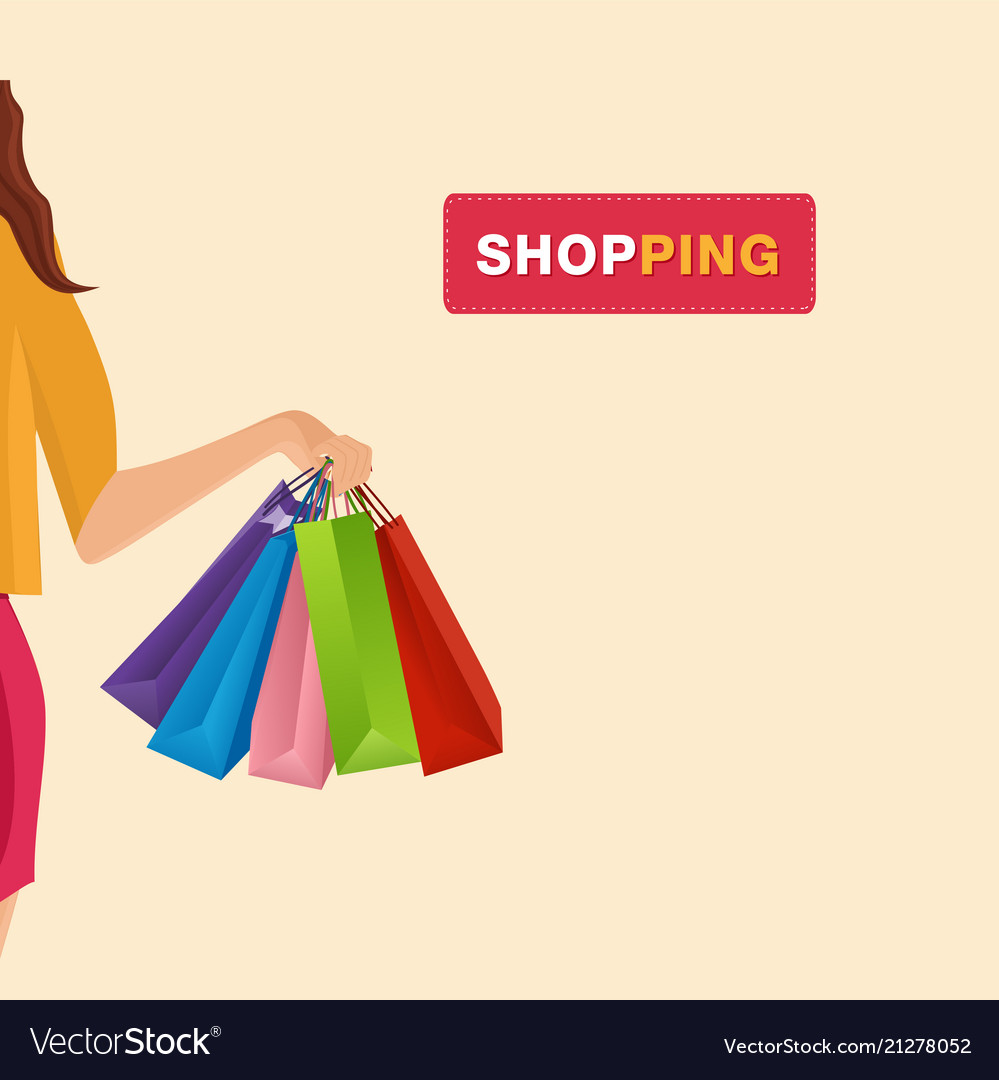 Shopping hand holding shopping bags background vec
