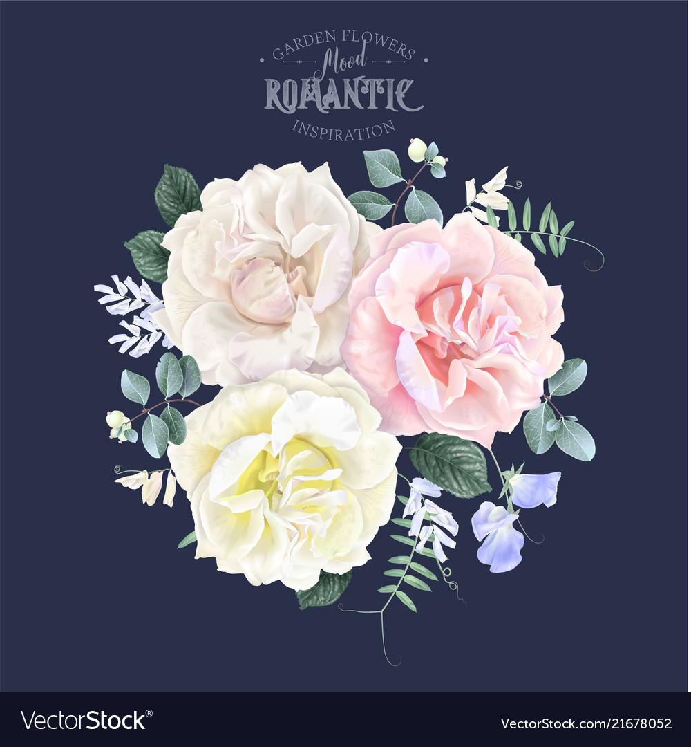Vintage floral banner with garden rose