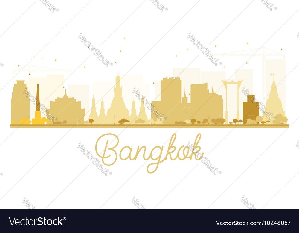 Bangkok City skyline golden silhouette