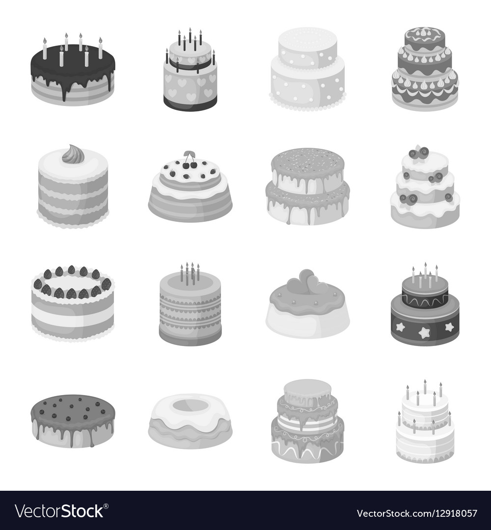 Cakes set icons in monochrome style Big