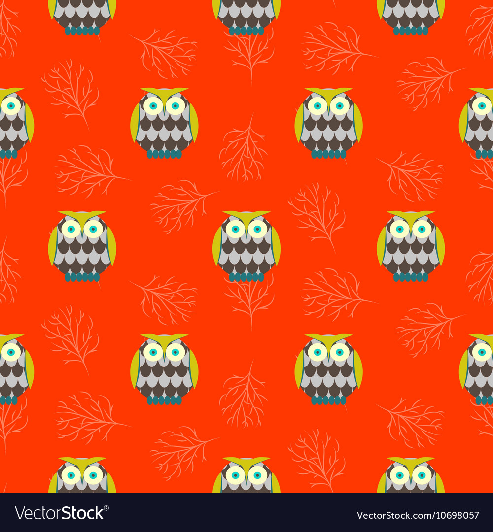 Cartoon owls orange red seamless pattern vector image