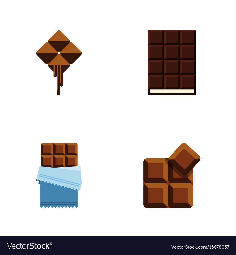 Flat icon chocolate set of dessert cocoa bitter