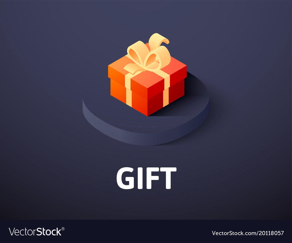 Gift isometric icon isolated on color background vector image