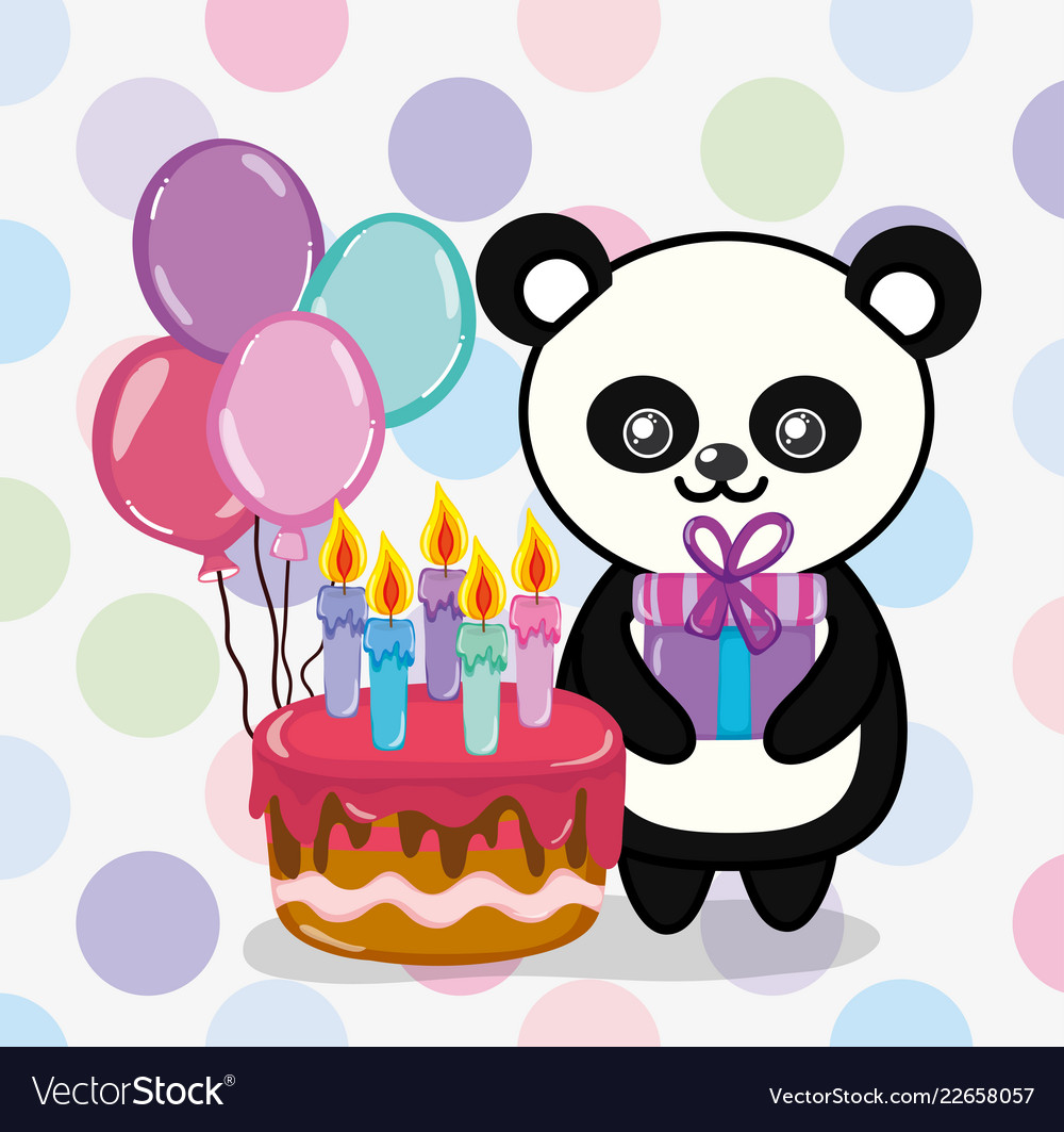 Happy Birthday Panda Cartoon Royalty Free Vector Image