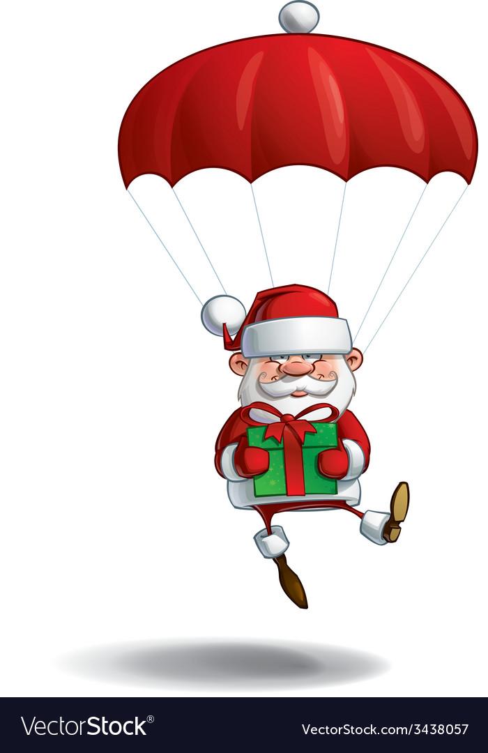 Happy Santa Parachute Holding a Gifts