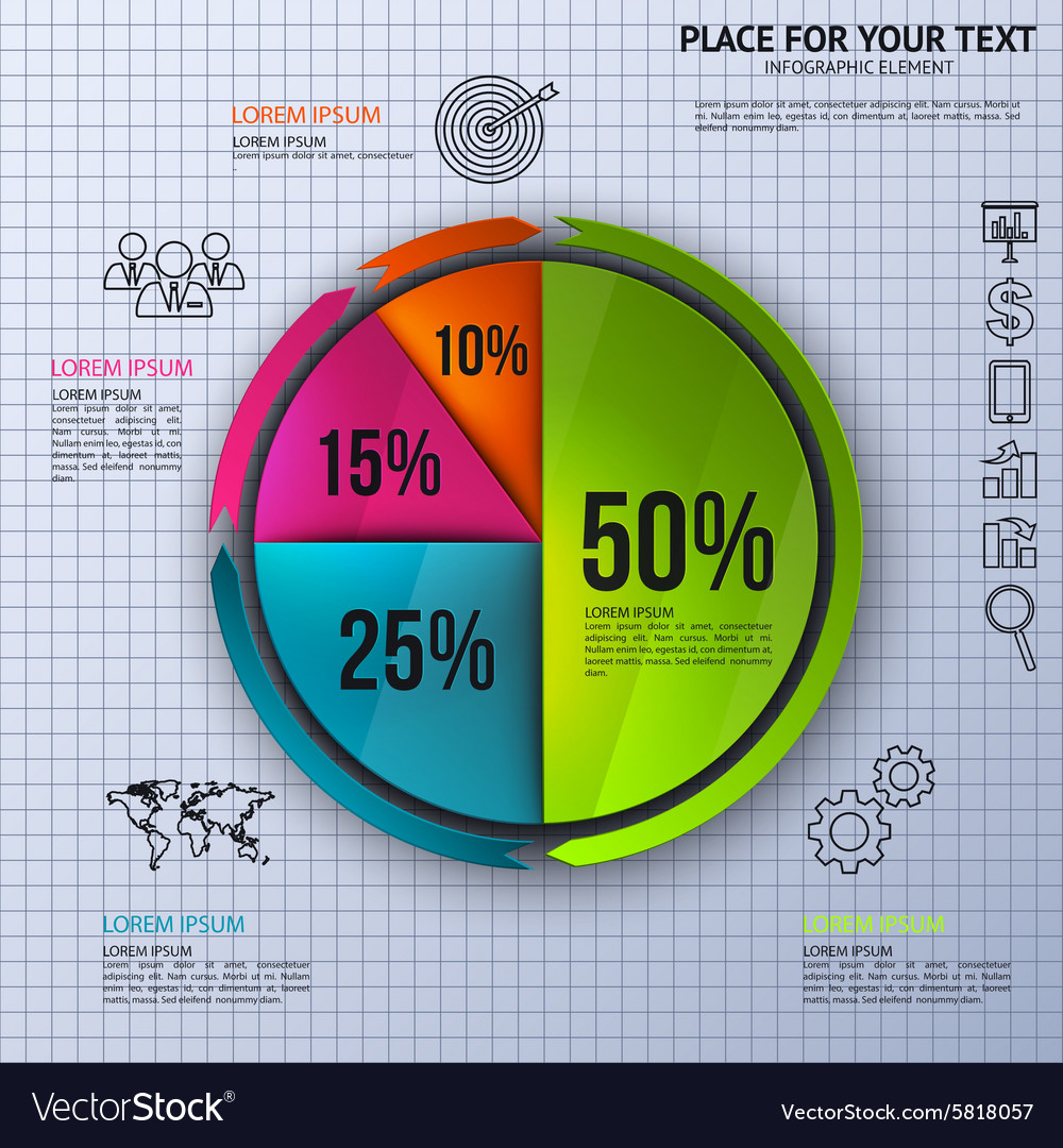 pie chart business statistics with icons vector image