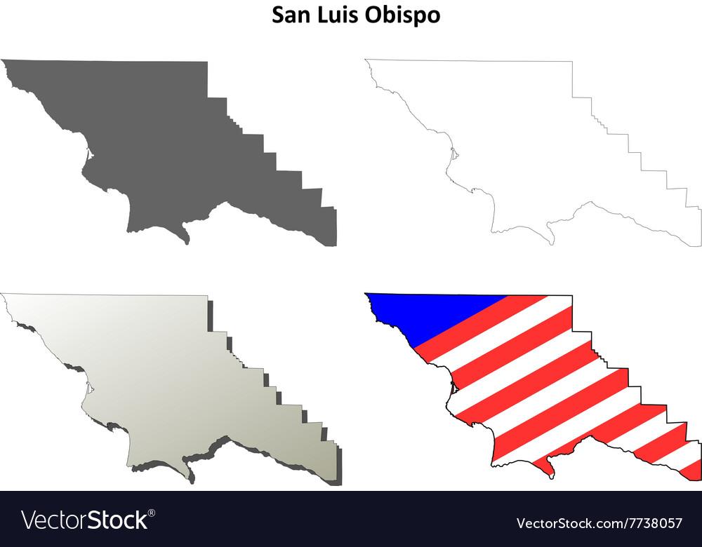 San Luis Obispo County California Outline Map Set Vector Image
