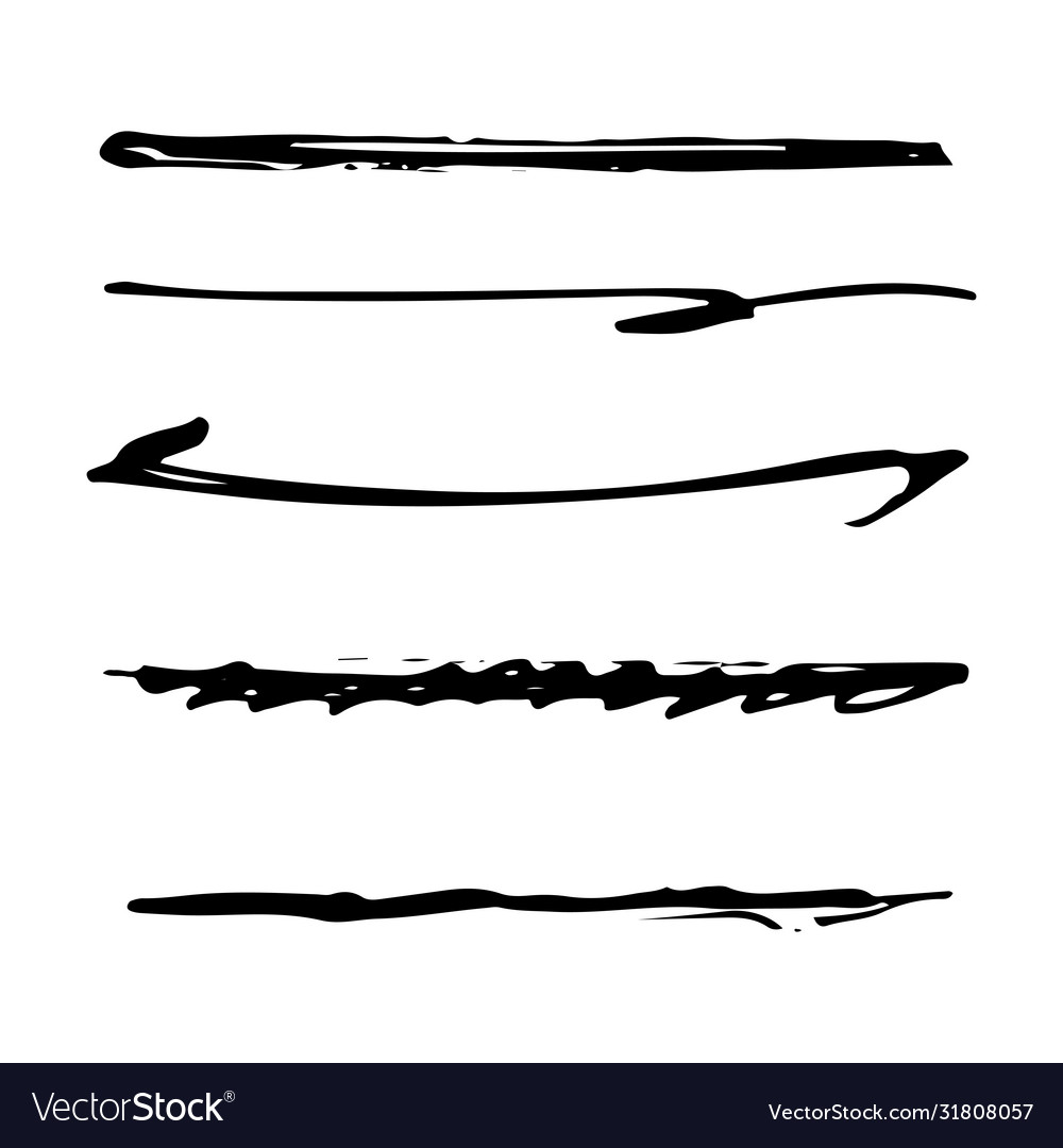 Set black ink brush stroke line set line